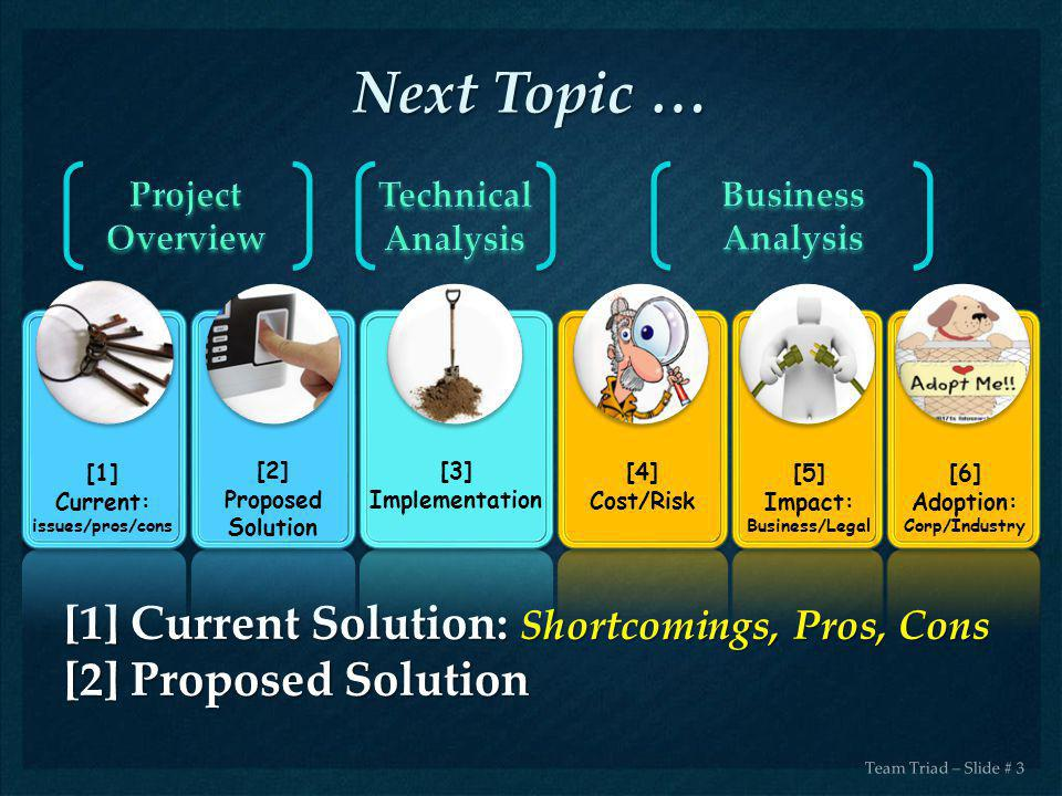Next Topic … [1] Current Solution: Shortcomings, Pros, Cons